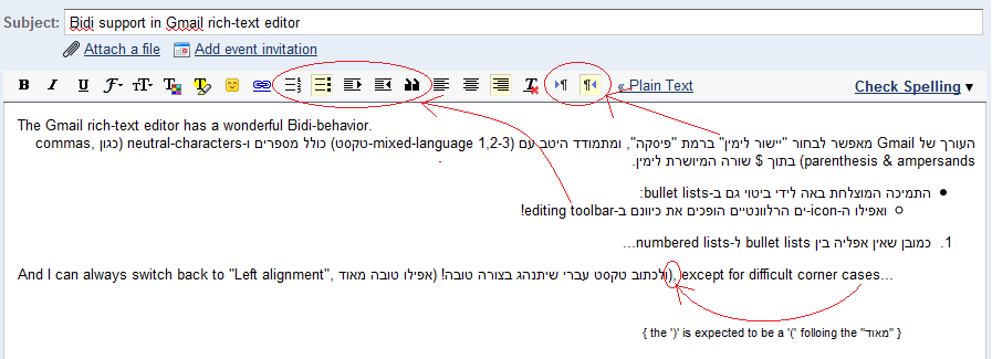 Bidi support in Gmail rich-text editor
