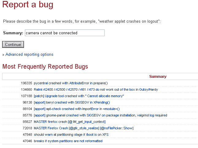 display most frequently reported bugs