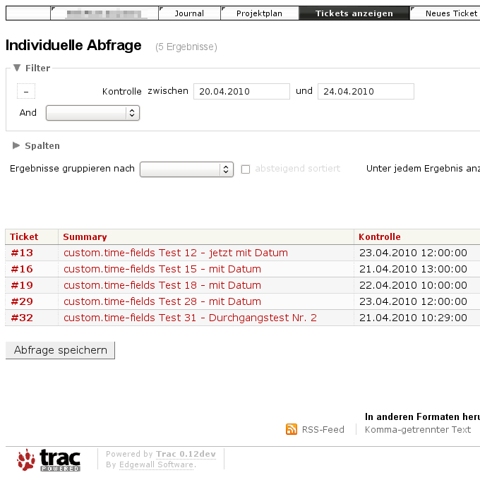 Trac 0.12dev screenshot with ticket list from query based on custom time field - updated version